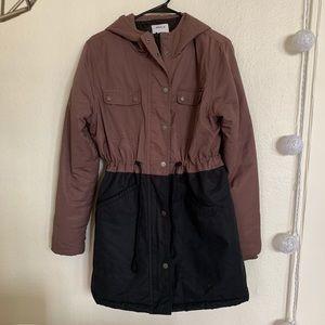 RVCA Maroon and Black Color Block Jacket Size 12 L